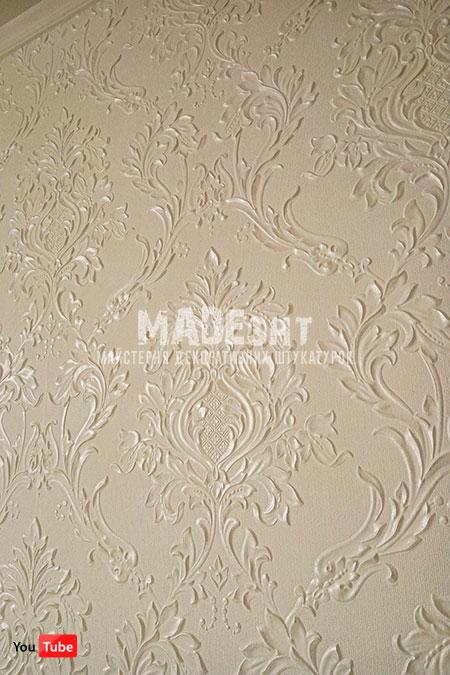 Белая линкруста с серебряными верхушками, Lincrusta Rocco RD 1969